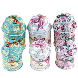 Großhandel Schöne Aufbewahrungsbox der Blumen-6pcs / lot, kleine große Metallzinn-Kästen, Bogenknoten-Tee-Kasten für Zuckerkaffeemünze und kleine Sachen-Lagerung