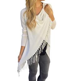 Asymmetric Jacket Knitting Canada - 2017 New Arrivals Women Coat Long Sleeve Knitted Cardigan Cotton Blended Sweater Outwear Asymmetric Classic Tassel Slash Womens Jacket Coats