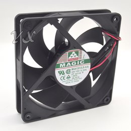 Discount double fan 12v - Free shipping new MGA12012LB-A25 MAGIC 12V 0.30A 2wires 12025 12CM Double Ball Chassis Cooling Fan
