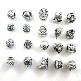 Mixed big hole rhinestone beads online shopping - New Mix Alloy Charms Mix Color Rhinestone Big Hole Beads fit Fashion Silver Pandora Bracelet DIY Jewelry