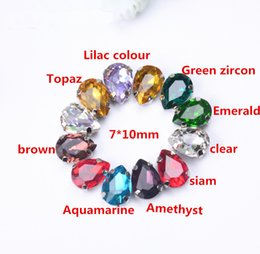 $enCountryForm.capitalKeyWord NZ - free shipment! small 7x10mm 50Pcs Lot waterdrop Teardrop Pear Sew on Crystal button beads Fancy Stone with Metal Claw Setting