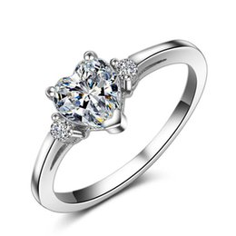 $enCountryForm.capitalKeyWord Canada - Romantic Heart CZ Diamond Wedding Rings for Women Real 925 Sterling Silver Engagement Jewelry Ring Love Gift Anillo Bague
