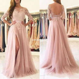 China Elegant 2019 Lace Sheer Neck Half Sleeves Prom Dresses Long Tulle Side Split Buttons Open Back Formal Party Gowns Evening Wear cheap prom dress jewels open sides suppliers