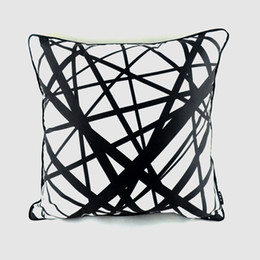 "Decorative Throws For Beds UK - Wholesale- 18""*18"" Decorative Pillowcase Black White Geometry Print Throw Home Pillow Case for Bedding capa para almofada"