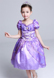 Robe Princesse Violet Enfants Pas Cher-Robes de Filles Robe Longue Cheveux Princess Tangled Rapunzel Robe violette Enfants Bubble jupe d'anniversaire Rapunzel Costume Costume Party Dress GD28