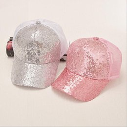 6834c6dda962d Wholesale- 2017 New Summer Black Sequins Baseball Caps For women Mesh Hat  Net Cap Casquette Sparkling Leisure Sun Cap Adjustable Adult