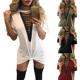 Blousons De Nuit Pas Cher-2017 Fashion T-shirt Robes Femme Summer Casual Sexy Army Green Lace Up Half Sleeves Tee Mini Dress Vestidos Night Club LC22828