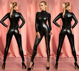 Barato Spandex Catsuit Atacado-Atacado- Sexy Sexy Hollow Out Rivet Latex Leather Catsuit Wet Look Shiny Fancy Costume jumpsuit