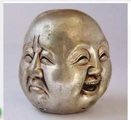 $enCountryForm.capitalKeyWord Canada - Brass Crafted Human CHINESE OLD WHITE COPPER CARVED BUDDHA HEAD STATUE