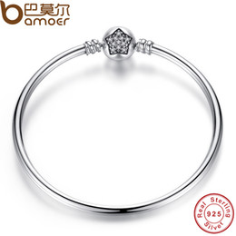 Charms star sterling online shopping - Sterling Silver Snake Chain Bangle Bracelet Fit Pandora Charm European DIY Beads Pave Star Cubic Zirconia CZ Jewelry