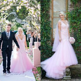 Barato Vestido De Renda Rosa Claro Sereia-2017 Colorful Light Pink Mermaid Wedding Dresses V Neck mangas sem molas Appliques de renda Tulle Bridal Gowns com trem feito sob medida
