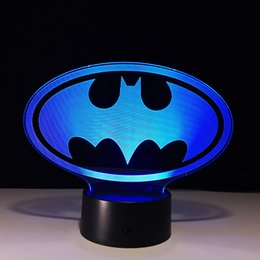 Moon Buttons Canada - Batman 3D Illusion Night Lamp 7 RGB Colorful Lights USB Powered with AA Battery Bin Touch Button Wholesale Dropshipping