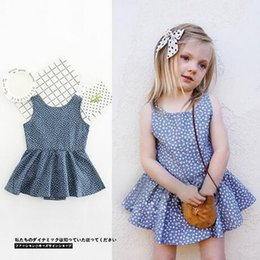 Popular Kids Clothes Canada - Popular Famous Baby Girls Clothing Summer Blue Sleeveless Flower Dresses Fashion Brand Childrens Dresses For Kids Free Shippping