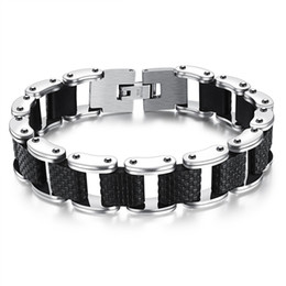 motorcycle chain bracelet clasp NZ - Square Genuine Sillcone Mens Bracelet Stainless Steel Motorcycle Biker Chain Design Casual Style Double Safety Claspes FGS832