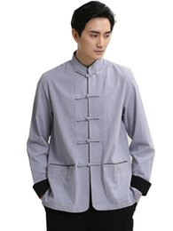 Tops Traditionnels Pas Cher-Shanghai Story hommes traditionnels chinois vêtements oriental hommes vêtements Tangzhuang tai chi chemise Kungfu Top For Man
