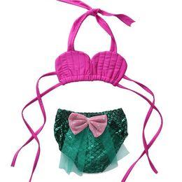$enCountryForm.capitalKeyWord NZ - Girls Bikini Swimwear 2017 Summer Baby Girls Mermaid Swimsuit Kids Toddler Top+Bow Pants 2pcs Set Princess Bathing Tankini Swimwear S862
