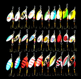 fishing spinners 2019 - Fishing Lure Spoon Spinner Bait Spinnerbait Metal Hard Lure Isca Artificial 30Pcs Lot 2.5-3.5G Multi Color Bait cheap fi