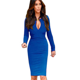 optical illusions dresses 2019 - Wholesale- New Fashion 2016 European Women V-neck Full Sleeve Optical Illusion Slimming Stretch Bodycon Pencil Party Dre