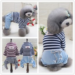 new arrival summer cotton small medium dog stripe jumpsuit brown color four legs cloth for pets s xxl xxl halloween costumes for dogs on sale