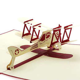 kirigami cards NZ - Wholesale-2016 New 3D Up Airplane Handmade Best Wish Greeting Card Kirigami Kids Gift