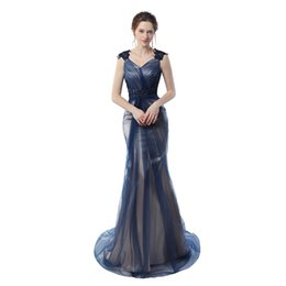 Image Satin Sexy Pas Cher-Real Pictures Blue Navy Mermaid Robes de soirée 2017 Grey Color Vintage Party Gowns Robes de bal Livraison gratuite