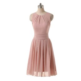 $enCountryForm.capitalKeyWord UK - Blush Pink Bridesmaid Dresses 2017 Short Chiffon Wedding Guest Party Gowns Mini Jewel Neck Ruched Simple Dress For Girls Real Photo