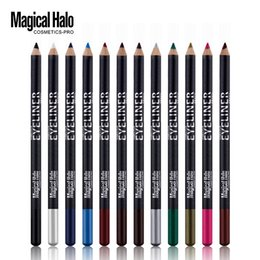 Matte Eyeliner Pens Canada - Magical Halo Fashion Black Pole 12 Color Eyeliner Eye Shadow Pen Does Not Blooming Shipping Free 0315
