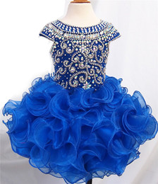 Mini Baby Girl Toddler Canada - 2017 new Royal Blue Color Organza Flower Girl Girls Pageant Dresses Infant Toddler Baby Dresses Custom