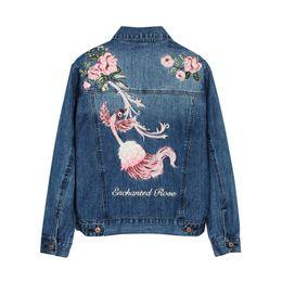 China Fashion Blue Beautiful Phoenix Flower Embroidery Women Denim Jacket Coat Autumn Slim Fit Jean Jacket For Girls Ladies suppliers