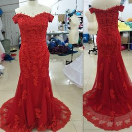 Barato Novo Vestido Sexy Do Querido-Red Prom Dress 2018 Sexy New Sweetheart Off The Shoulder Appliqued Tulle Mermaid Evening Dress vestidos de graduacion
