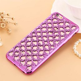 Wholesale New Luxury D Hollow Diamond Grid Style Rhinestone Fundas Capa Soft TPU Phone Cases Cover For Samsung Galaxy S6 S7 Iphone