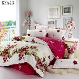 Discount beautiful king size bedding - Wholesale- Beautiful flower pattern bedding set 4pcs 100%cotton pillowcase duvet cover bed sheet twin full queen king si