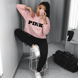 Sweat-shirts En Gros Femme Rose Pas Cher-Vente en gros- 2017 Hot Fashion PINK Impression Hoodies Sweatshirts Jumper Crop Top T-shirt Manches Couture Femme Vêtements Loose Short