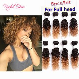 Loose Kinky Curly Hair Canada - brazilian curly hair weave 250g kinky curly 8bundles weft marley black color human hair ombre brown,bug 8inch loose wave braiding hair