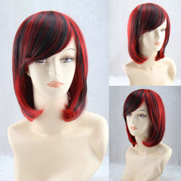 Short Hair Costume Wigs Canada - Black Red Short Wig Synthetic Fiber Pixie Cut Hairstyle With Bangs Women's Hair Perucas Sexy Party Csoplay Costume Red Short Wig