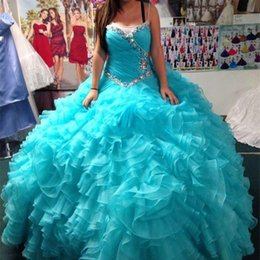 Images De Robe De Jupe Supérieure Pas Cher-Plus Size Robes Quinceanera Ball Gowns pour 2017 Luxe Cristaux Sweetheart Neck Ruched Top Ruffles Jupe Lace-up Retour Robes de soirée de bal
