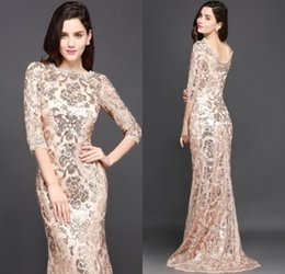 Barato Sereia Designer Vestidos-2018 Design Especial Rose Gold Designer Ocasião Vestidos Mermaid Long Sleeves Full Sequins Lace Evening Dress Luxo Prom Festa Vestidos CPS634