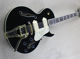 Hollow body guitar sale online shopping - Hot Sale Electric Guitar Black Body Gold Hardwares and White Binding P90 Pickups Can be Customized