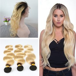 Roots Band Canada - Ombre Color #1B 613 Dark Root Body Wave Hair Bundles With Pre Plucked 360 Ear To Ear Lace Band Frontal Closure 4Pcs Lot
