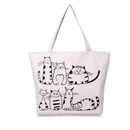 Grand Sac De Plage Blanc Pas Cher-White New Cartoon Cats Imprimé Beach Zipper Bag Canvas Large Totes Shopping Sacs à main Sacs pour femmes