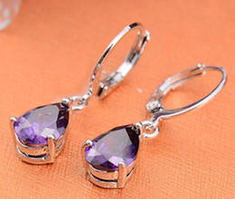 Wholesale Jewelry Fashion Silver Hottest Style Amethyst Zircon Earrings Gift Luckyshine Gem Dangle Earrings Natural Stone Bead Cha