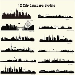 Wall Stickers London NZ - London New York etc Skyline Wall Stickers City Building Walll Decals City Silhouette Wall Art For Family Couples Home Decor Free Shipping