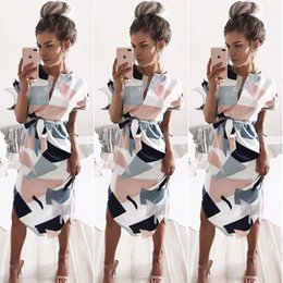 Robe De Soirée Imprimé Pas Cher-Women Clothing 2017 Summer V Neck Short Sleeve Party Evening Beach Holiday Robe longue avec impression CWC0300
