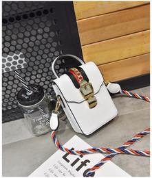 $enCountryForm.capitalKeyWord Canada - New high quality designer chain lock single shoulder messenger bag women fashion phone purse lady casual handbag black white color no251