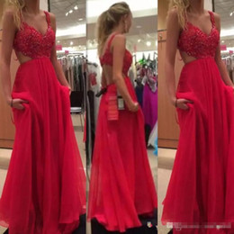 Barato Vestidos De Festa Sexy Com Corte Lateral-2017 Hot Sales Red Prom Dresses Cut Away Side V Neck Long Chiffon A Line Sexy Evening Party Gown Custom Made
