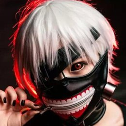 Discount kaneki face mask - Hot Tokyo Ghoul 2 Kaneki Ken Mask Adjustable Zipper Masks Blinder Anime Cosplay Halloween PU Leather Cool Mask