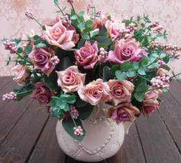 $enCountryForm.capitalKeyWord Canada - New Arrive Elegant Oil Painting Style Artificial Rose Silk Flowers 10 Flower Head Floral Wedding Garden Decor DIY Decoration