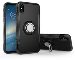 navy blue iphone cases UK - Fashion 3 in 1 Built-in Metal Ring Holder Soft TPU & Hard PC Plastic Dual Layer Armor Phone Cover Case For iPhone X