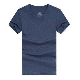 Venta al por mayor de Envío gratis 2018 pequeño caballo de algodón nuevo O-cuello de manga corta camiseta hombres de la marca T-shirts estilo casual para el deporte de los hombres camisetas