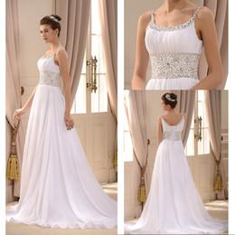 8a2eddabda22 Empire Waist A Line Beach Wedding Dress Spaghetti Straps Sweep Train White Chiffon  Beaded Sequined Lace Up Garden Bridal Wedding Gowns